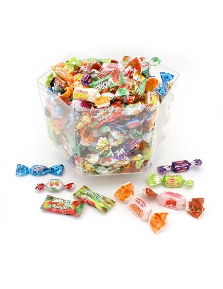 Cofre transparente caramelos, jellies y masticables sin azúcar