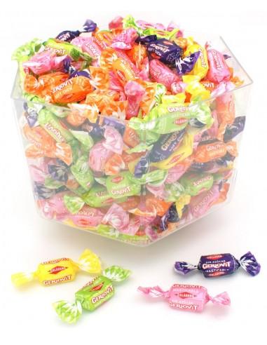 Cofre lleno de caramelos masticables sin azúcar con colageno y estevia.