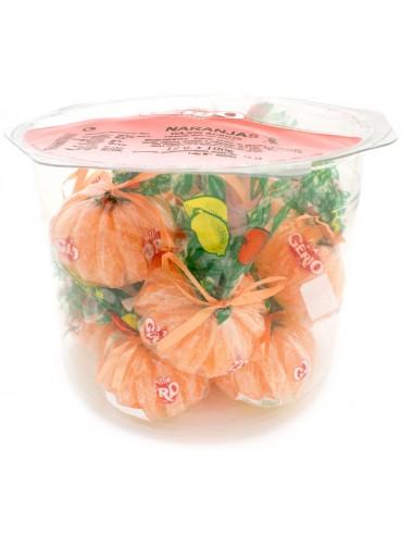 Bote naranjas XL de caramelo, sin gluten.