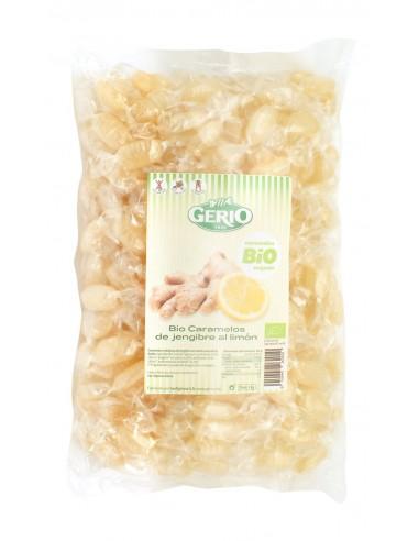 Organic (bio) ginger candies with essential lemon oil.